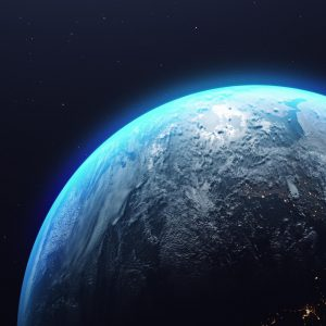 planet Earth in the starry galaxy